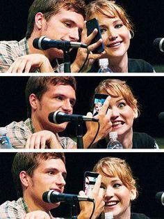 Josh Hutcherson and Jennifer Lawrence. Just taking selfies. It's whatever ;)