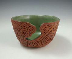 CoilBuilt Yarn Bowl Green Glaze by KulshanClayworks on Etsy, $40.00