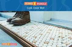 Cork Door Mat - Recycle old corks to create a trendy door mat for your home. DIY by @kennethwingard on Home and Family!