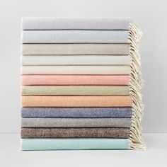 """Layer on soft, luxurious warmth with this cozy, brushed cotton throw in a subtle herringbone weave. 
