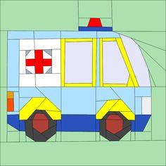"""Ambulance 12"""" (30cm) Paper Pieced pattern quiltartdesigns.blogspot.com"""