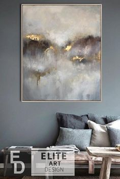 Large oil painting original canvas gray painting gold painting of contemporary a. - Large oil painting original canvas gray painting gold painting of contemporary art abstract oil pai - Art Painting Tools, Painting Edges, Oil Painting Abstract, Abstract Wall Art, Acrylic Painting Canvas, Acrylic Art, Painting Flowers, Blue Abstract, Large Painting