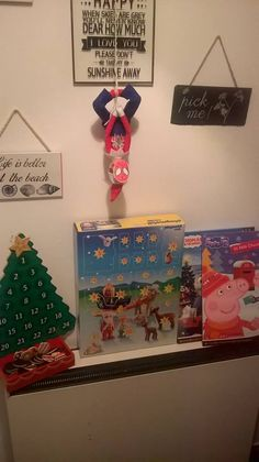 December 1st. Percy Elf arrived this morning dressed as spiderman with advent calendars galore :D