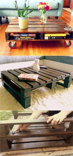 12 Easy Pallet Sofas and Coffee Tables to DIY in One Afternoon easy-DIY-pallet-sofa-coffee-table-apieceofrainbow Diy Pallet Sofa, Wooden Pallet Projects, Wooden Pallet Furniture, Diy Sofa, Wooden Pallets, Pallet Ideas, Pallet Tables, 1001 Pallets, Pallet Wood