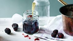 The apples in this recipe add loads of pectin to set this fairly firm seedless blackberry jam. It's great with cheese and biscuits or spread on toast. Blackcurrant Jam Recipe, Blackberry Jelly Recipe, Seedless Blackberry Jam, Blackberry Bramble, Blackberry Recipes, Bramble Jelly, Jelly Recipes, Drink Recipes, Tutorials