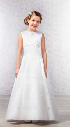 Emmerling Style 70182 ' Anna' Butterfly Sparkle First Communion Dress Girls First Communion Dresses, Holy Communion Dresses, Communion Shoes, Lace Flower Girls, Illusion Neckline, Dress Collection, Dress Making, One Shoulder Wedding Dress, Wedding Dresses