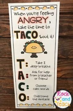 Encourage students to TACO' bout their anger! Powerful anger management strategies presented in a fun way for kids. Encourage students to TACO' bout their anger! Powerful anger management strategies presented in a fun way for kids. Lets Taco Bout It, Conscious Discipline, Counseling Activities, Anger Management Activities For Kids, Preschool Classroom Management, Social Skills Activities, Anti Bullying Activities, Behavior Management Strategies, Behavior Incentives