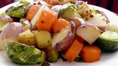 Honey Roasted Roots & Sprouts with Pan-fried Garlic