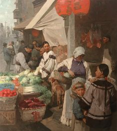 "Mian Situ (Chinese born American, 1953) ""Market Day in Chinatown, San Francisco"", 1905"