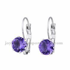 aretes con cristal morado en acero para mujer-SSEGG164337