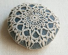 9. Crochet Lace Beach Stone