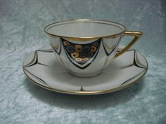 Sold - vendu - Keramics - Ebay - Jean Boyer Limoges ancienne tasse art déco vintage hand painted french cup