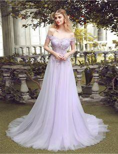 Vintage Inspired Off Shoulder Lace Prom Dress