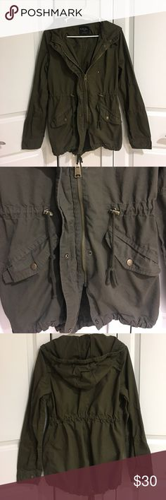 """Endless Love Olive Green Jacket This is a great """"in between seasons"""" coat. Perfect for fall or a rainy day in spring. Im normally a size small or medium and this coat fits me well - it just is a little on the long side. Would be great for someone tall - I'm 5'3. In excellent condition! Endless Love  Jackets & Coats"""