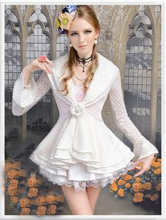 Morpheus Boutique  - White Knit Layer Collar Long Flare SleeveJacket , $89.99 (http://www.morpheusboutique.com/white-knit-layer-collar-long-flare-sleevejacket/)