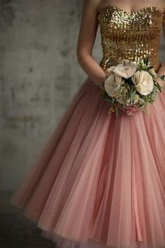Pink vintage skirt with sparkling gold bodice
