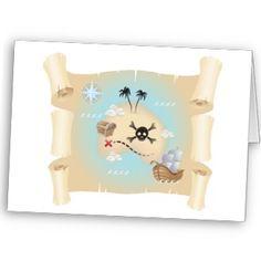 Mapa do pirata cartões