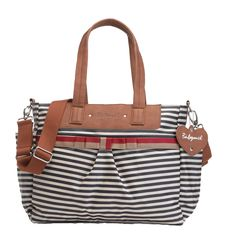 Babymel Cara Tote Diaper Bag - Navy Stripe | Designer Maternity Maternity Clothes BEST selection of Maternity clothes anywhere! FREE Gift with purchase! see www.duematernity.com for details