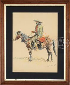 Frederic Remington - CAVALRY OFFICER AND A TRAPPER; Medium: color chromolithographs Housed under glass in matching wood frames; Dimensions: 19.5 X 14...