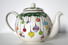 Christmas xmas Teapot Hand Painted Personalized Teapot high tea tea pot breakfast dinner tea colorful ceramic pottery ceramics gift on Etsy, $126.53