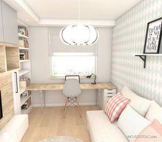 Pokój nastolatki - zdjęcie od WOJSZ I STOLC Home Office Decor, Guest Room Office, Bedroom Office Combo, Home Office Design, House Design, Home Decor, Spare Room, Deco Studio, Dream Rooms