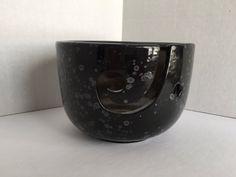 Obsidian Yarn Bowl  handpainted ceramic by DabaDos on Etsy