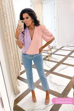 Pink and Purple Bodysuit. Chanel Earrings. Emily Gemma, The Sweetest Thing Blog #EmilyGemma #theSweetestThingBlog I Love Fashion, Spring Fashion, Autumn Fashion, Fashion Looks, Formal Looks, Casual Looks, The Sweetest Thing Blog, Clothing Blogs