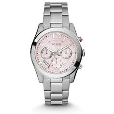 Fossil Perfect Boyfriend Multifunction Stainless Steel Watch ($155) ❤ liked on Polyvore featuring jewelry, watches, pink jewelry, stainless steel wrist watch, fossil jewelry, fossil jewellery and fossil wrist watch