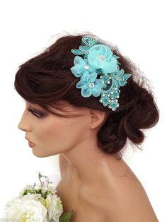 Turquoise Lace Crystal Chiffon Flower Hair Grip Hair Vine Fascinator Bridesmaid