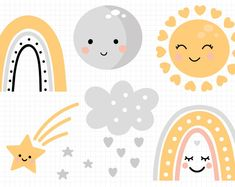 Rainbow svg, Rainbow clipart with sun svg, moon svg. Baby clipart svg in Pastel colors.