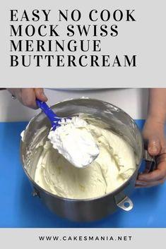 Easy No Cook Mock Swiss Meringue Buttercream Chocolate Swiss Meringue Buttercream, Italian Buttercream, Meringue Frosting, Cake Frosting Recipe, Frosting Recipes, Buttercream Icing, Cake Icing, Cake Recipes, Muffins
