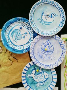 3rd grade art: Chinese Art. Ming and Yuan Dynasty porcelain plates using paper plates. Image only.