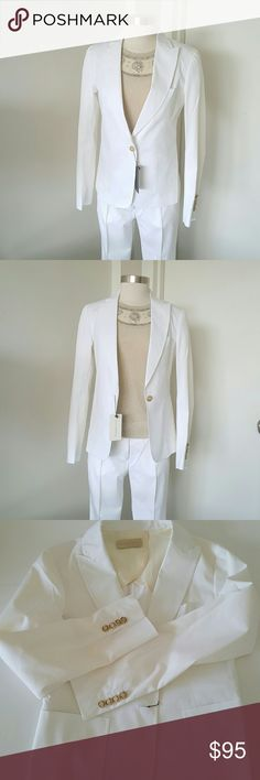 "FOSCHTERRA White Blazer  NWT Chic and stylish blazer for summer or spring,  high quality of crafted,  stitching throughout, pockets on the front,  signature buttons and part lining.   Perfect with pants or skirt and can be wear any occasion. Made in Portugal 67% cotton 4% elastin 29% polyester dry cleaning only. Measurements length 24"" bust 34"" waist 31"" sleeves are length 24"" ROSCHTERRA  Jackets & Coats Blazers"