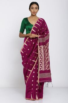 513e9fcdb4 ₹4,999 Deep Pink Handloom Pure Cotton Saree with All Over Woven Motif and  Rich Pallu