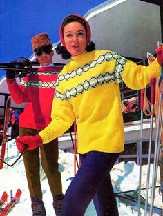 Vintage Knitting Pattern Booklet Ski by allthepreciousthings Vintage Ski, Vintage Winter, Vintage Ladies, Vintage Sport, Vintage Christmas, Ski Fashion, 1960s Fashion, Vintage Fashion, Fashion Images