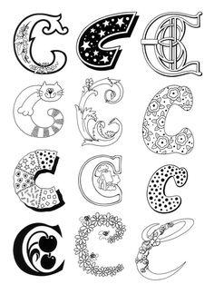 Lettre C dessinée dans des styles différents, à colorier