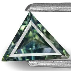 0.82-Carat Trilliant-Cut Greenish Blue Madagascar Sapphire