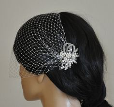 birdcage veil and a bridal comb 2 Items  by SnowWhiteStudio, $69.00
