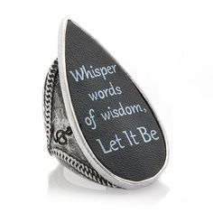 """Music Culture """"Let It Be"""" Black Leather Teardrop Ring...too cool!"""