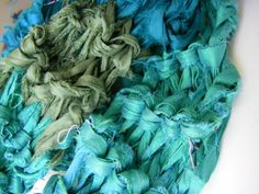 45 min Recycled Sari Ribbon Scarf from my friend Nicole at Darn Good Yarn - free pattern