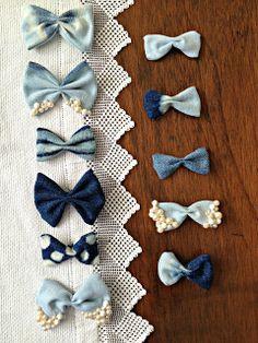 Salute to Cute: DIY Hair bows - Denim scraps tutorial // Lazos o pajaritas con tejanos y lejía