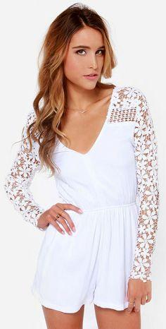White Crocheted Romper #spring #style
