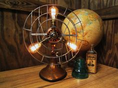 Vintage Industrial Copper Hunter Century Fan 3 Light Table Lamp With Edison Bulbs on Etsy, $363.64 AUD