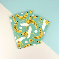 """""""BANANAS! — We've got loads of new notebooks available on our online store (link in the bio) including these super fun banana filled designs featuring…"""""""