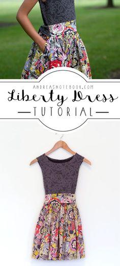 Size 10 - girls dress tutorial. Knit bodice and cotton skirt