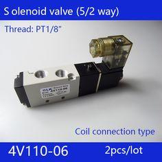 2pcs free Shipping 2 Position 5 Port Air Solenoid Valves 4V110-06 Pneumatic Control Valve , DC12v DC24v AC36v AC110v 220v 380v #Affiliate