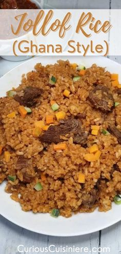 25 minutes · Serves 4 · This recipe for Ghanaian jollof rice brings you a brightly colored red/orange rice dish, with a wonderful spice and rich, spicy, and saucy meat. Jollof rice is a much-loved festive dish that is often… African Peanut Stew, Delicious Desserts, Yummy Food, Jollof Rice, Moroccan Spices, Make Ahead Lunches, Vegetable Puree, Rice Dishes, Spicy