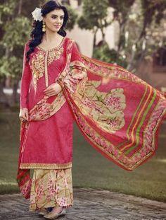 Casual Wear Pink Cotton Embroidered Work Salwar Kameez