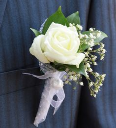 My Star Boutonniere | White Rose Boutonniere | Wedding Boutonniere | Groom Boutonniere | Groomsmen Boutonnieres | Buy Boutonniere at BunchesDirect