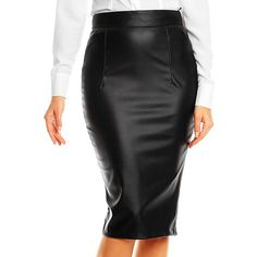 Karen Black Faux Leather Pencil Skirt ($25) ❤ liked on Polyvore featuring skirts, fitted pencil skirt, vegan leather skirt, fitted skirts, faux leather pencil skirt and knee length pencil skirt